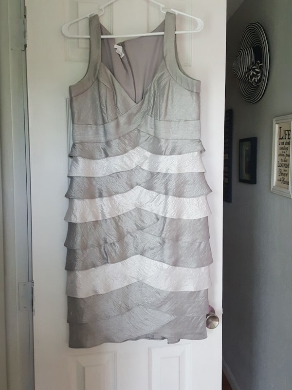 9678f35c4b71 Used gray and white satin v-neck sleeveless bodycon dress for sale in  Mountain Home