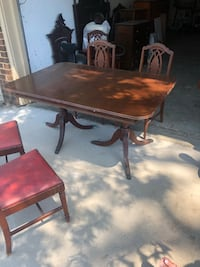 Mahogany antique table and 6 chairs and buffet