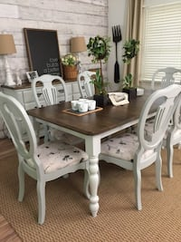 Farmhouse table and six upholstered chairs Waxhaw, 28173