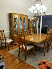 rectangular brown wooden table with six chairs dining set Medford, 11763