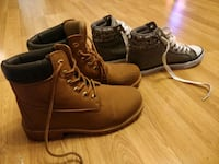 beige leather work boots and gray high-top sneakers Greater London, NW7 1HW