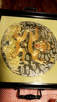 Antique Chinese SILK Embroidery Dragon tray