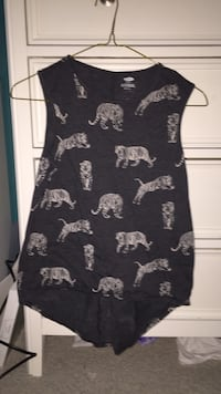 dark grey tank top with tigers