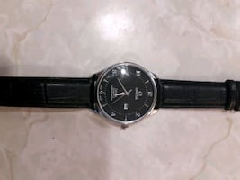 Mens Omega watch, black leather strap