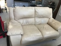 White leather 2-seat couch w minor flaws. Coquitlam, V3E