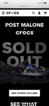 POST MALONE X CROCS CLOG SIZE 10 US *SOLD OUT* (CONFIRMED ORDER)
