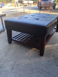 Upholstered Faux Leather Top Coffee Table Ojai