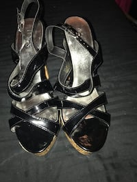 pair of black-and-silver stilettos