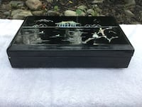Vintage Asian Rectangular Bento Box Mother Of Pearl Lacquered Wood Huntingdon Valley, 19006