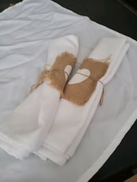 Linen cloth napkins with hearts.