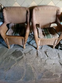 two brown wicker armchairs with ottoman Los Angeles, 91605