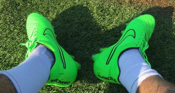 best website 0dc94 03173 Soccer Shoes - Nike Tiempo Legend V FG Kangaroo Leather Soccer Cleats Green  with Shin Guards