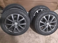 16'' 5 lug pattern alloy wheels and tires. All in good shape, none are bent, all are used but just normal wear and tare. Tires are at about 45-50 tread 595 mi