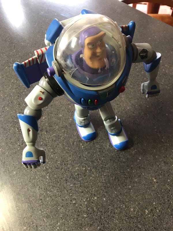 """White and blue plastic ride on toy. 15"""" tall... 757c926f-6b68-49bc-b944-422df54c3317"""