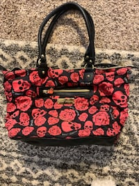 Betsy Johnson Skull Rose Print Purse