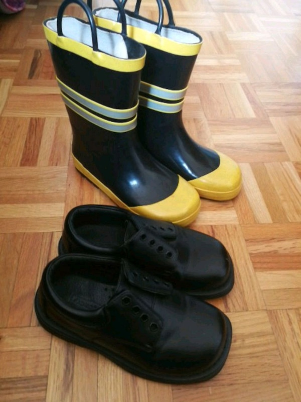 Formal shoes and rubber boots