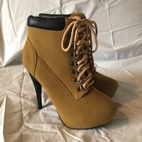 Tan Stiletto Lace Front Booties Toronto, M1R 1V9