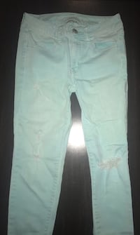 Women's American Eagle turquoise distressed skinny jeans (size 4) Columbus, 43201