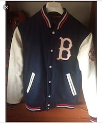 giacca blu scuro Boston Red Sox abbottonata blu, bianca e rossa