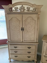 Queen bed frame with end tables with matching dresser with mirror Surrey, V3W 3A9