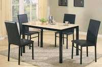 Brand New 5 Piece Light Faux Marble Dining Set  Silver Spring