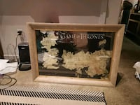 "Game of Thrones Map in a 30""x42"" wood frame Arlington, 22201"