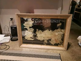 """Game of Thrones Map in a 30""""x42"""" wood frame"""