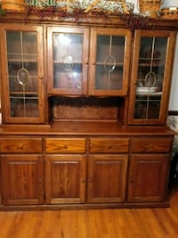 brown wooden china cabinet with glass display cabinet Purcellville
