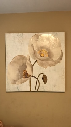 two white flowers painting