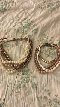 White, brown, and beige beaded multi-strand necklaces Québec, G1V 1T1