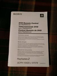 Sony DVD PS2 Remote Control Booklet Charleston, 29414
