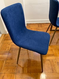 4 blue and gold chairs for sale