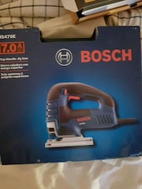 black and blue Bosch power tool box