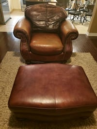 Large leather chair with matching ottoman  Hamilton, L8E 0C9