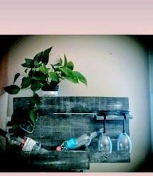 rustic wine bottle and glass holder