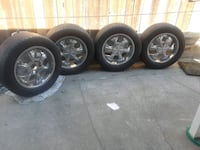 chrome 5-spoke car wheel with tire set North Highlands, 95660