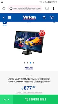 "Asus 1ms 75hz 24"" Gaming Monitör 8566 km"