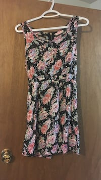 women's black, green, pink, and purple floral sleeveless dress