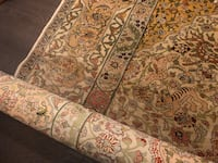 Turkish made, Iranian design Silk gold threaded Rug  Signed by very famous designer
