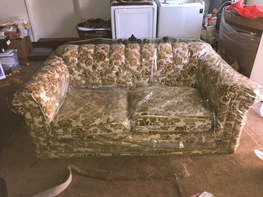 used vintage sofa plastic cover included for sale in fremont letgo rh us letgo com plastic sofa covers with zipper plastic sofa protector cover