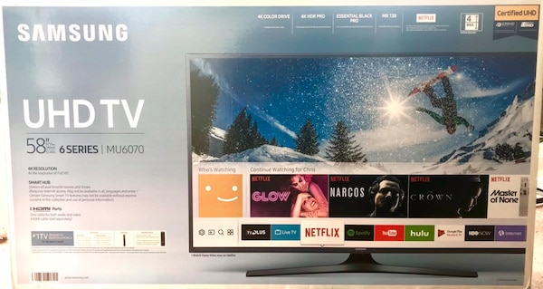 "Samsung 58"" LED 4K Smart UHD TV 120Hz Refresh BRAND NEW Model UN58MU6070F e7f8442c-cbb4-4c4a-ad6e-e78e6fec4587"