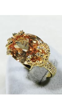 18k Gold Filled Huge Oval CZ Crystal Ring Size 8