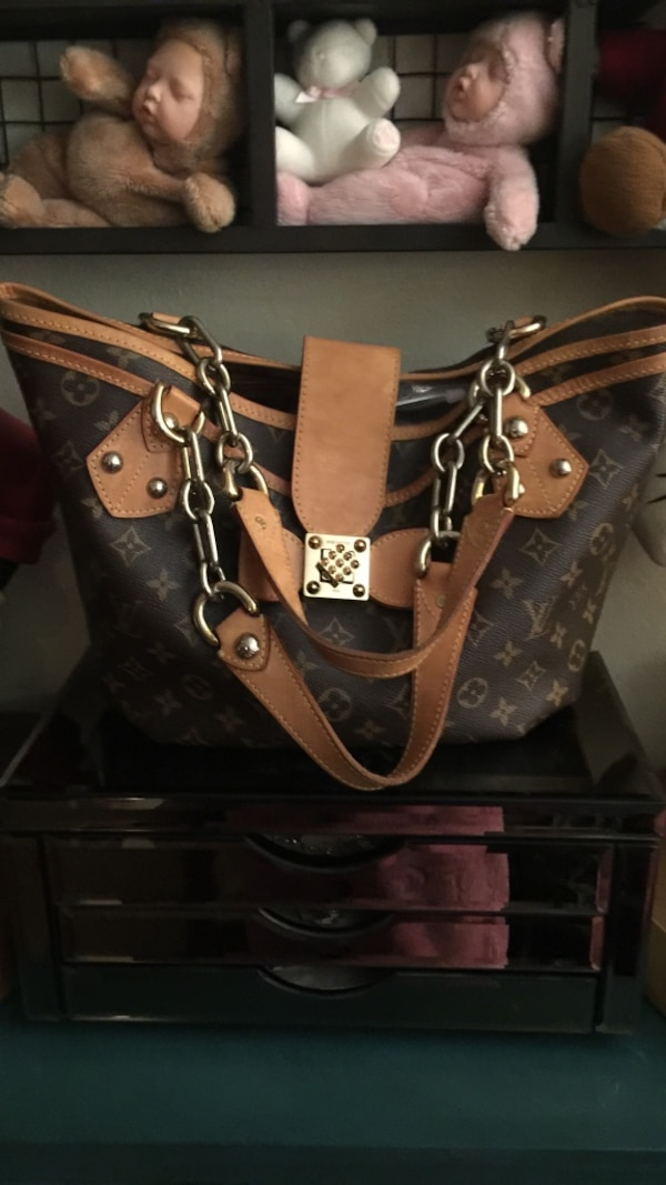 616a1a458d18 Used brown and black leather Louis Vuitton monogram tote bag for sale in  Redwood City - letgo
