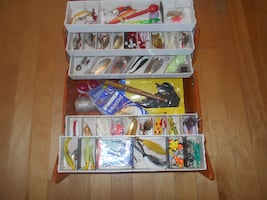 Full fishing tackle box, 5 tray box
