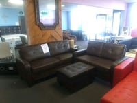 Brown Bonded Leather Sofa and Love Seat.   Houston, 77074