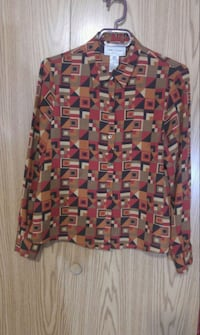 red and black printed long-sleeved shirt Burnaby
