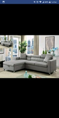 tufted gray fabric sectional sofa Austin