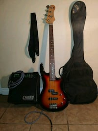 brown and black electric bass guitar with gig bag Anaheim, 92802