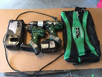 Green and black Hitachi cordless hand drills with bag, used 1 battery included