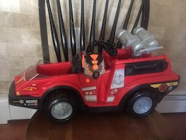 Red and black ride on toy car
